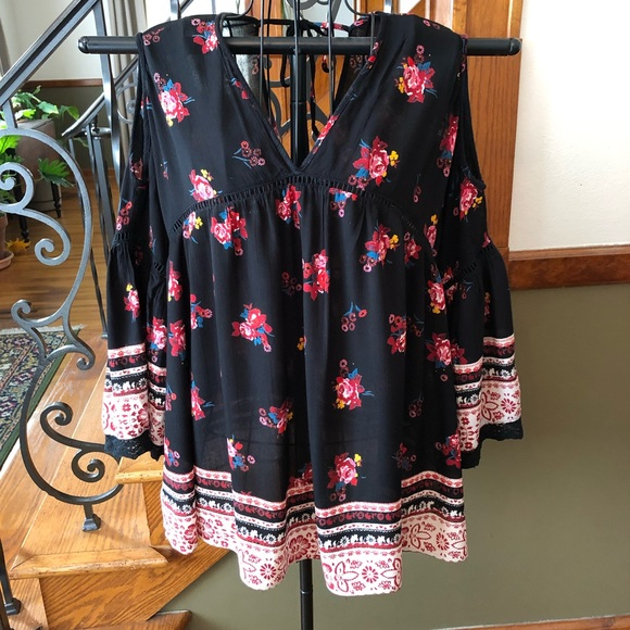 Angie Tops - Angie L Boho Floral Cold Shoulder Top
